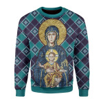 Merry Christmas Gearhomies Unisex Christmas Sweater Maria And Jesus In Eastern Orthodox Christmas 3D Apparel