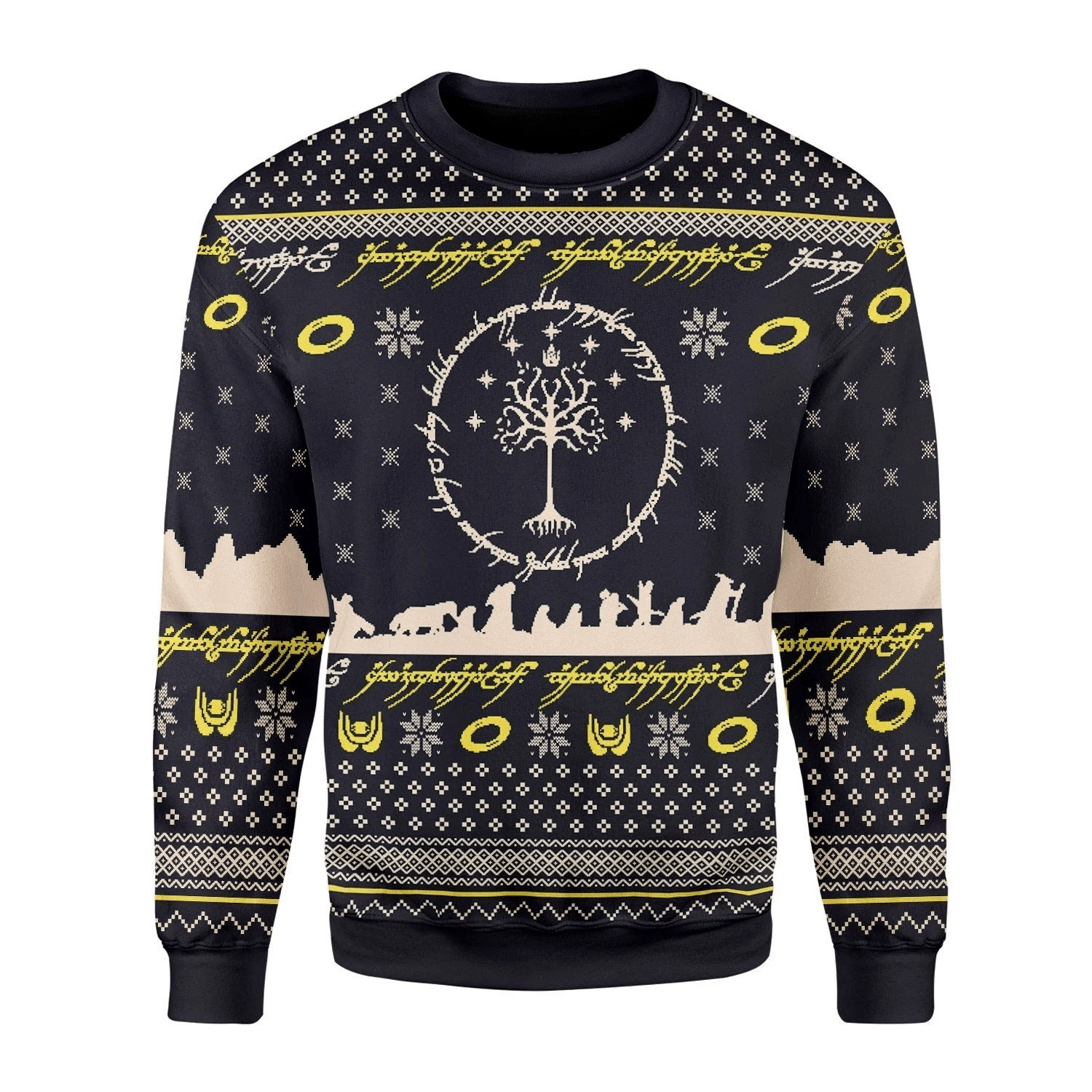 Merry Christmas Gearhomies Unisex Christmas Sweater Lord Of The Rings Ugly Christmas