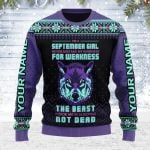 Gearhomies Personalized Name Ugly Christmas Sweater September Girl Never Mistake My Kindness For Weakness 3D Apparel