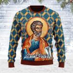 Merry Christmas Gearhomies Unisex Ugly Christmas Sweater Saint Peter 3D Apparel