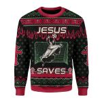 Merry Christmas Gearhomies Unisex Christmas Sweater Jesus Saves Football