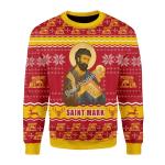 Merry Christmas Gearhomies Unisex Christmas Sweater Saint Mark The Evangelist 3D Apparel