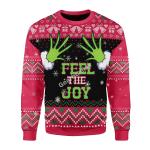 Merry Christmas Gearhomies Unisex Christmas Sweater Feel The Joy Grinch 3D Apparel