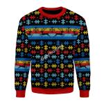 Merry Christmas Gearhomies Unisex Christmas Sweater Autsim 3D Apparel
