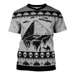 Gearhomies Unisex T-shirt Pyramid UFO Ancient Aliens 3D Apparel