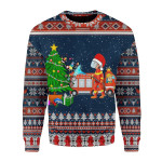 Merry Christmas Gearhomies Unisex Christmas Sweater Firefighter Presents Ugly Christmas