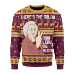 Merry Christmas Gearhomies Unisex Christmas Sweater There�??s The Salad Now Leave Me Alone 3D Apparel