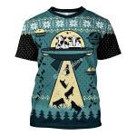 Gearhomies Unisex T-shirt UFO ALien Cow Abduction 3D Apparel