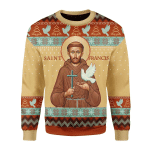 Merry Christmas Gearhomies Unisex Christmas Sweater Saint Francis God Of Animal And Environment 3D Apparel