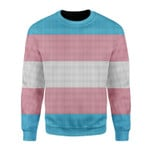 Merry Christmas Gearhomies Unisex Christmas Sweater Transgender Flag 3D Apparel
