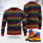 Merry Christmas Gearhomies Unisex Ugly Christmas Sweater LGBTQ+ Flag Stripes 3D Apparel