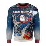 Merry Christmas Gearhomies Unisex Christmas Sweater Santa Iron Maiden Santa Maiden 3D Apparel