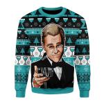 Merry Christmas Gearhomies Unisex Christmas Sweater Leo Wine Glass Meme 3D Apparel