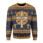 Merry Christmas Gearhomies Unisex Christmas Sweater Jesus IC XC Christmas 3D Apparel