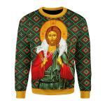 Gearhomies Christmas Unisex Sweater Orthodox Jesus Christ Ugly Christmas 3D Apparel