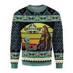 Gearhomies Christmas Unisex Sweater Holographic Alien & Sasquatch But Stuff Ugly Christmas 3D Apparel
