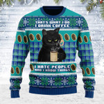 Merry Christmas Gearhomies Unisex Ugly Christmas Sweater I Hate People Cat 3D Apparel