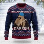 Merry Christmas Gearhomies Unisex Ugly Christmas Sweater I'm Claustrophobic Darren 3D Apparel