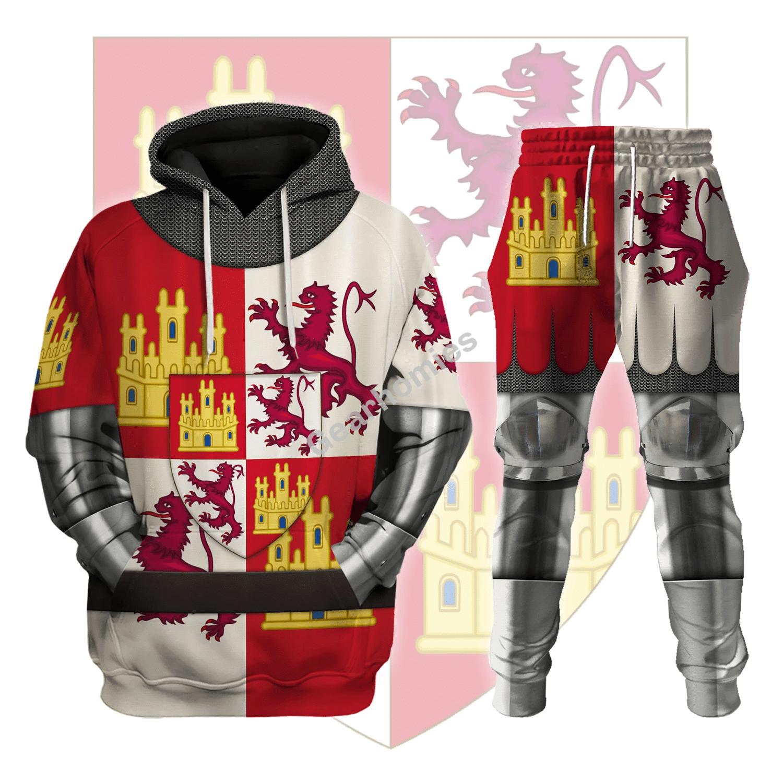 Gearhomies Tracksuit Hoodies Pullover Sweatshirt Castile And Leon Armor Historical 3D Apparel