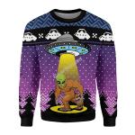 Gearhomies Christmas Sweater Big Foot Alien Happy Dog 3D Apparel
