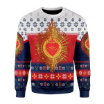 Merry Christmas Gearhomies Unisex Christmas Sweater Sacred Heart 3D Apparel
