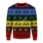 Merry Christmas Gearhomies Unisex Christmas Sweater Rainbow Deer LGBT 3D Apparel
