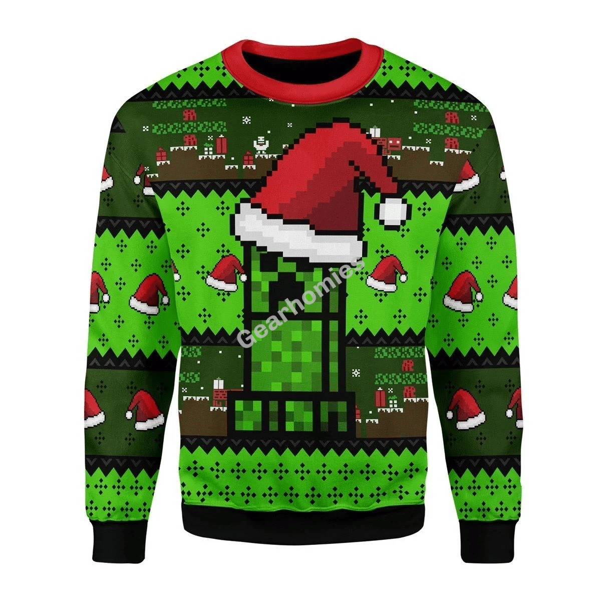 Merry Christmas Gearhomies Unisex Christmas Sweater Minecraft 3D Apparel