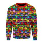 Merry Christmas Gearhomies Unisex Christmas Sweater LGBTQ+ Rainbow Flag Cat