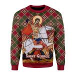 Merry Christmas Gearhomies Unisex Christmas Sweater Saint George 3D Apparel