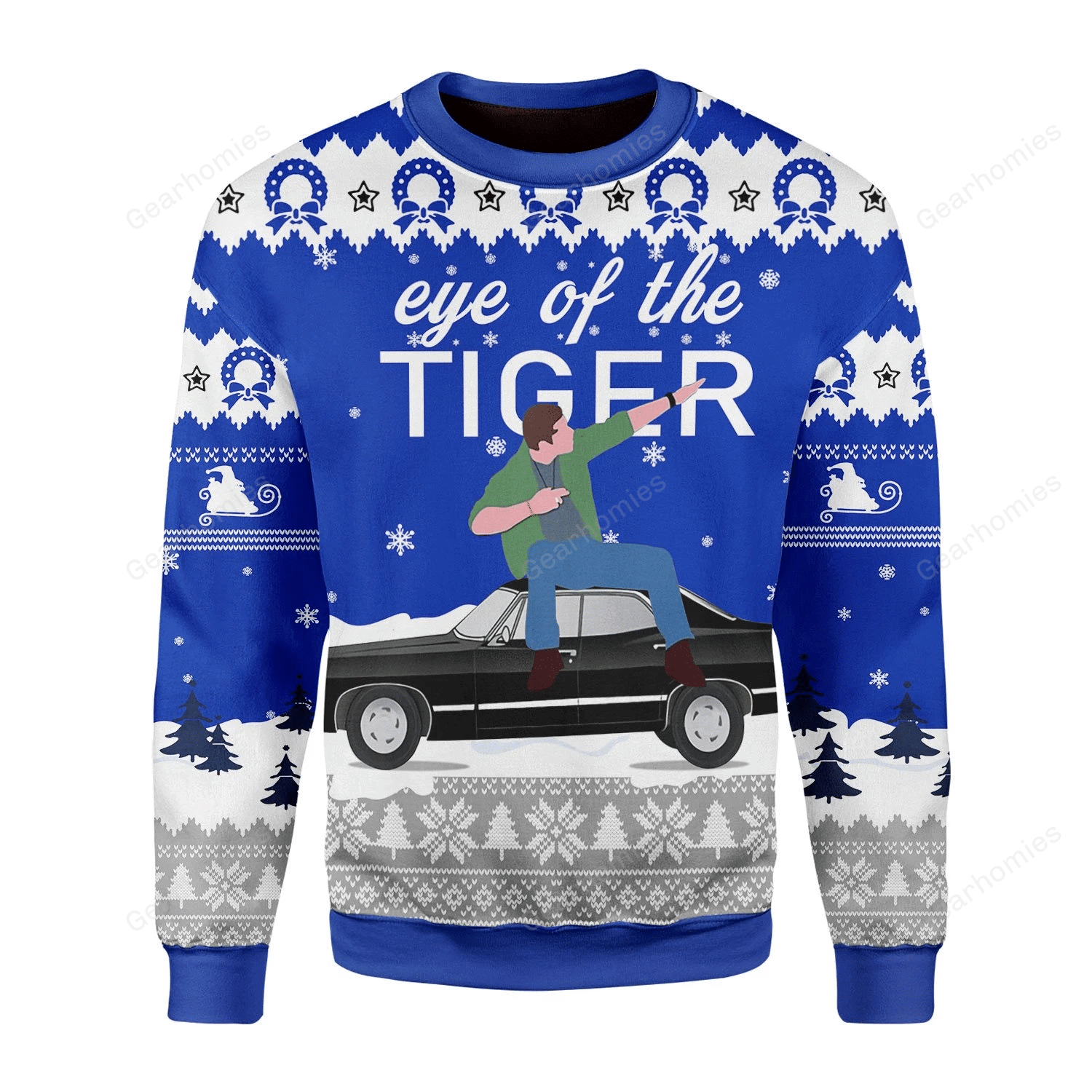 Merry Christmas Gearhomies Unisex Christmas Sweater Eye Of The Tiger 3D Apparel