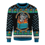 Gearhomies Christmas Unisex Sweater My Life Is A Dumpster Fire Ugly Christmas 3D Apparel