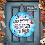 Gearhomies Round Wooden Personalized Last Name Autism Awareness Home Decor Door Sign
