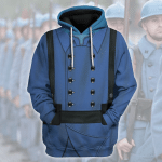 Gearhomies Unisex Hoodie World War I French Soldiers Historical 3D Apparel