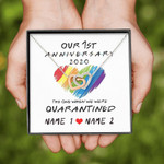 Gearhomies Jewelry Personalized Our 1st Anniversary The One Where We Were Quarantined Interlocking Heart Necklace