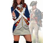 Gearhomies Dress Hoodie Patriot Soldier in American Revolution Historical 3D Apparel