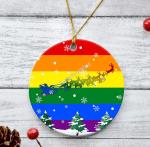 Gearhomies Ornament Gay Flag Round