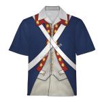 Gearhomies Unisex Hawaiian Shirt Patriot Soldier in American Revolution Historical 3D Apparel