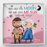 Gearhomies Jewelry Custom Name You Are The Moon Of My Life My Sun And Stars Knot Necklace