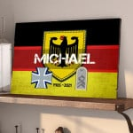 Gearhomies Personalized Military Wooden Pallet German Flag With Name & Rank/Insignia