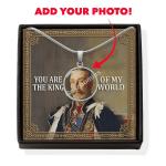 Gearhomies Jewelry Custom Photo King George V Circle Pendant with POD Message Card