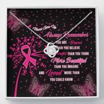 Gearhomies Necklace Breast Cancer Never Give Up You Are Braver More Beautiful  And Loved