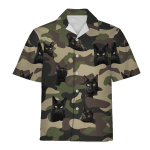Gearhomies Hawaiian Outfit Black Cat Camouflage 3D Apparel