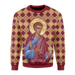 Merry Christmas Gearhomies Unisex Christmas Sweater Philip the Apostle 3D Apparel