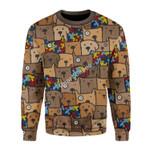 Merry Christmas Gearhomies Unisex Christmas Sweater Autism Dog 3D Apparel