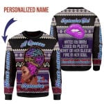 Gearhomies Personalized Christmas Sweater A Queen Was Born In September 3D Apparel