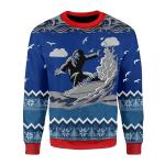 Merry Christmas Gearhomies Unisex Christmas Sweater Bigfoot Surfing 3D Apparel