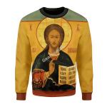 Gearhomies Christmas Unisex Sweater Orthodox Jesus Ugly Christmas 3D Apparel