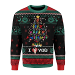 Merry Christmas Gearhomies Unisex Christmas Sweater Christmas Tree Sign Language Ugly Xmas