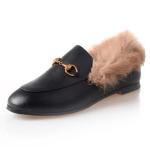 Horsebit Chain Fur Slip-on Penny Loafers