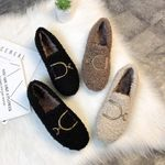 D Buckle Velvet Thick-Soled Shoes Loafers